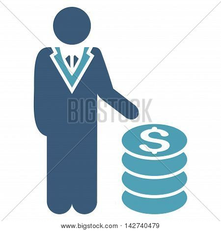 Businessman icon. Vector style is bicolor flat iconic symbol with rounded angles, cyan and blue colors, white background.
