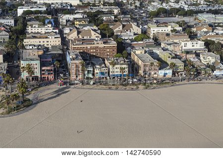 Los Angeles, California, USA - August 6, 2016:  Summer afternoon aerial view of Venice Beach in Southern California.