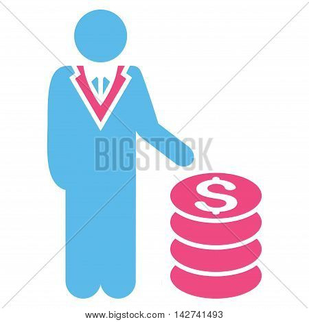Businessman icon. Vector style is bicolor flat iconic symbol with rounded angles, pink and blue colors, white background.