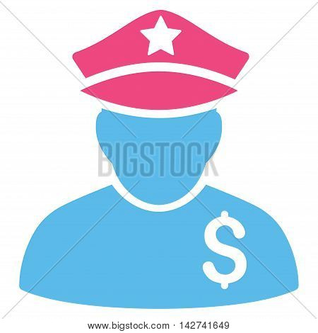 Financial Policeman icon. Vector style is bicolor flat iconic symbol with rounded angles, pink and blue colors, white background.