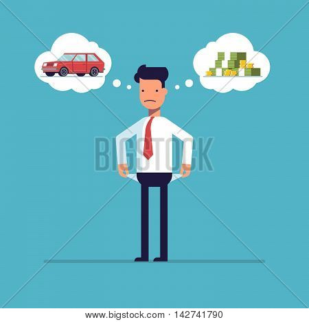 Businessman with no money, bankrupt. Man dreams of a car. The manager thinks about the financial issue. Poor man. A character in a flat style, isolated on a blue background