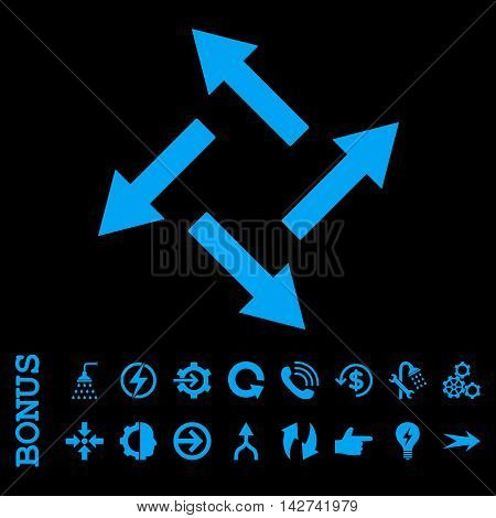 Centrifugal Arrows vector icon. Image style is a flat pictogram symbol, blue color, black background.