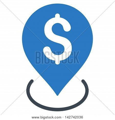 Bank Placement icon. Vector style is bicolor flat iconic symbol with rounded angles, smooth blue colors, white background.