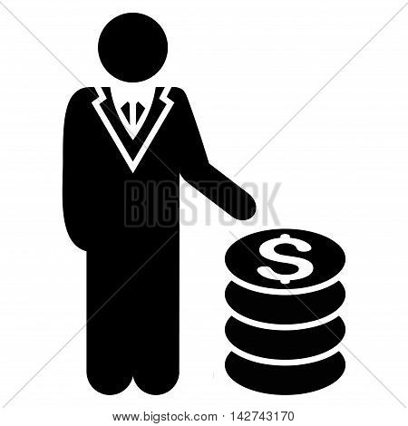 Businessman icon. Vector style is flat iconic symbol with rounded angles, black color, white background.