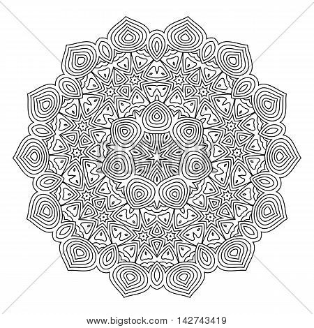 Monochrome mandala for coloring book. Vintage decorative elements ethnic ornament for your design.. Islam Arabic Indian turkish pakistan chinese ottoman motifs