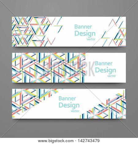 Set oj abstract geometric banners. Vector templates with place for your text. Creative modern design with triangle pattern.