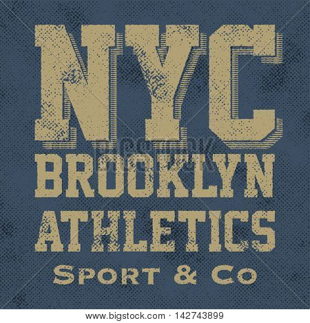 Athletic sport New York typography, t-shirt graphics, vector background