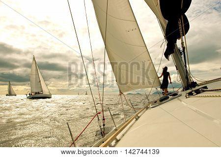 Yacht regatta in Turkey, Mediterranean sea in autumn