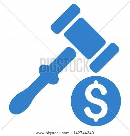 Auction icon. Vector style is flat iconic symbol with rounded angles, cobalt color, white background.