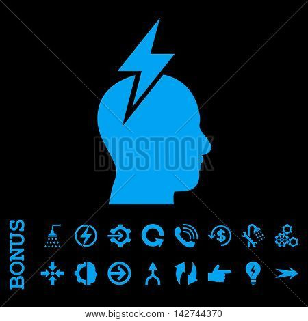 Headache vector icon. Image style is a flat pictogram symbol, blue color, black background.