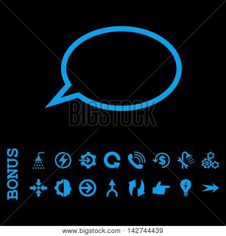 Hint Cloud vector icon. Image style is a flat pictogram symbol, blue color, black background.