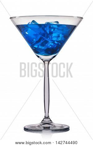 Blue cocktail in martini glass isolated on white background.
