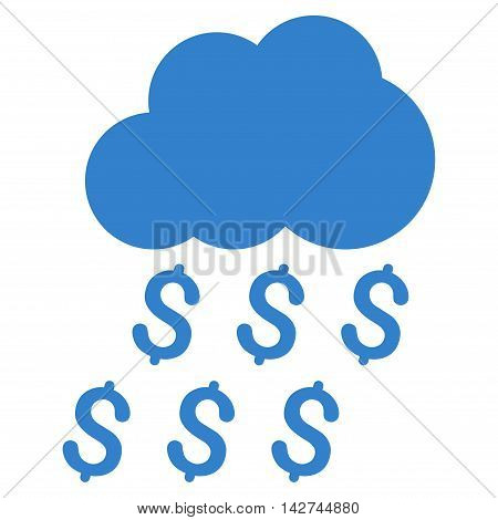 Money Rain icon. Vector style is flat iconic symbol with rounded angles, cobalt color, white background.