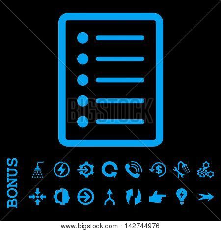 List Page vector icon. Image style is a flat iconic symbol, blue color, black background.