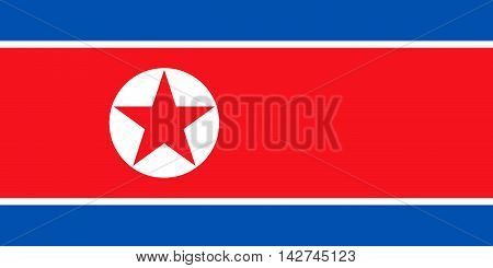 Flag of North Korea Democratic People's Republic of Korea in correct size proportions and colors. Accurate dimensions. North Korean national flag.