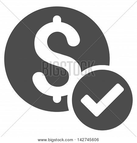 Approved Payment icon. Vector style is flat iconic symbol with rounded angles, gray color, white background.