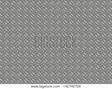 Silver metal surface with a shallow rectangular corrugated.