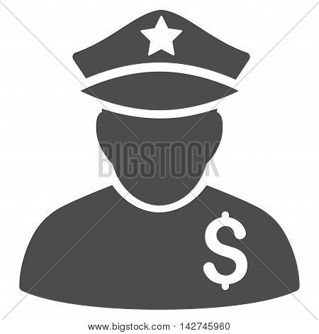 Financial Policeman icon. Vector style is flat iconic symbol with rounded angles, gray color, white background.