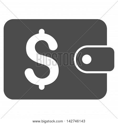 Purse icon. Vector style is flat iconic symbol with rounded angles, gray color, white background.