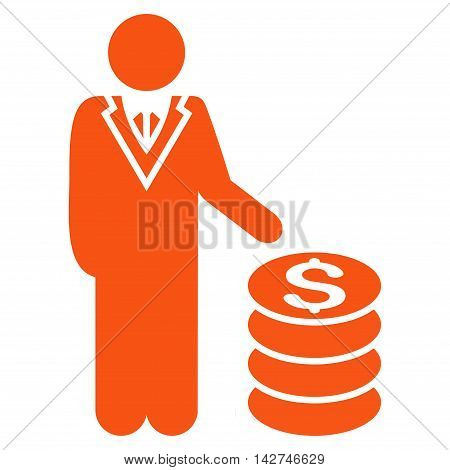Businessman icon. Vector style is flat iconic symbol with rounded angles, orange color, white background.
