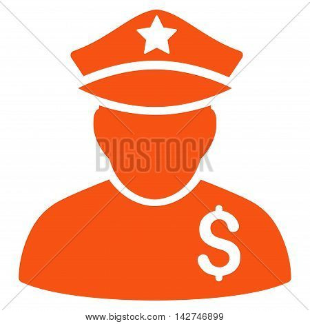 Financial Policeman icon. Vector style is flat iconic symbol with rounded angles, orange color, white background.