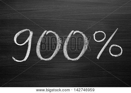 900-percent title written with a chalk on the blackboard
