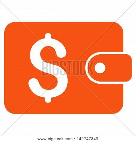 Purse icon. Vector style is flat iconic symbol with rounded angles, orange color, white background.