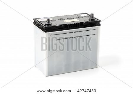 closeup car battery on white background, automotive spare parts