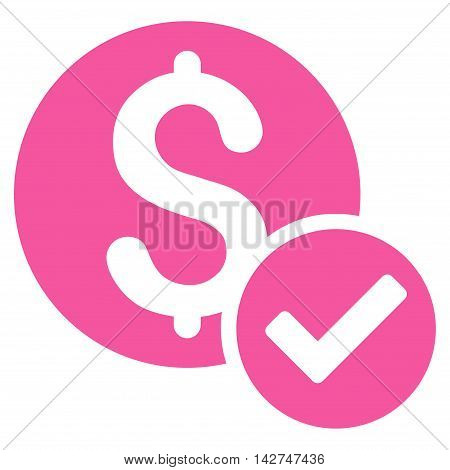 Approved Payment icon. Vector style is flat iconic symbol with rounded angles, pink color, white background.