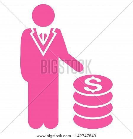 Businessman icon. Vector style is flat iconic symbol with rounded angles, pink color, white background.