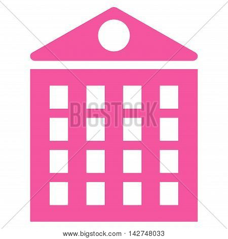 Multi-Storey House icon. Vector style is flat iconic symbol with rounded angles, pink color, white background.
