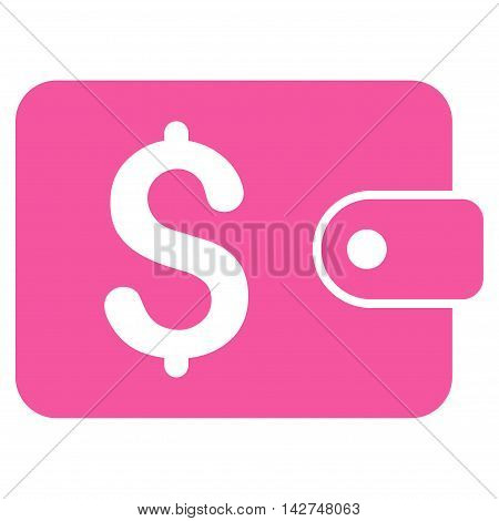 Purse icon. Vector style is flat iconic symbol with rounded angles, pink color, white background.