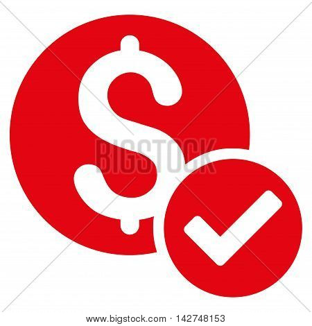 Approved Payment icon. Vector style is flat iconic symbol with rounded angles, red color, white background.