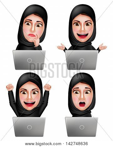 Muslim arab woman vector characters set working with laptop wearing hijab or head scarf with facial expression isolated in white background. Vector illustration.