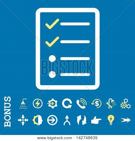 Checklist Page vector bicolor icon. Image style is a flat pictogram symbol, yellow and white colors, blue background.