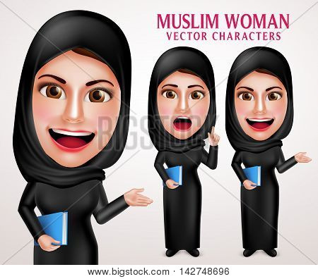 Muslim woman vector character set holding book with friendly smile wearing hijab and islamic clothing standing in white background. Vector illustration.
