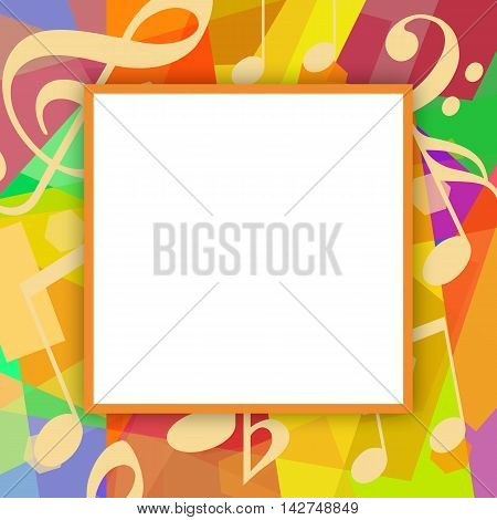 Photo frame with musical notes on a colorful background