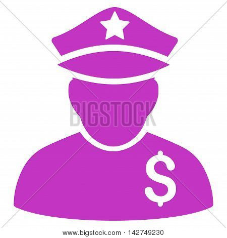 Financial Policeman icon. Vector style is flat iconic symbol with rounded angles, violet color, white background.