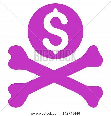 Mortal Debt icon. Vector style is flat iconic symbol with rounded angles, violet color, white background.