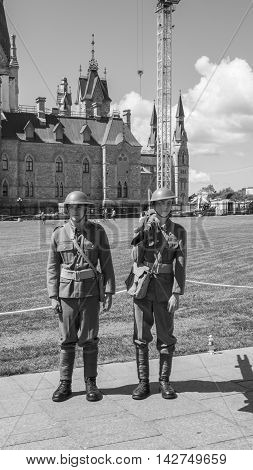 August 15, 2016 - Ottawa, Ontario - Canada - Re enacting Canadian soldiers of World War 1