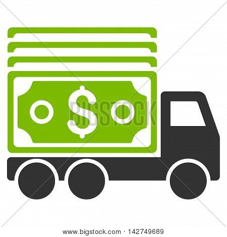Cash Lorry icon. Glyph style is bicolor flat iconic symbol with rounded angles, eco green and gray colors, white background.