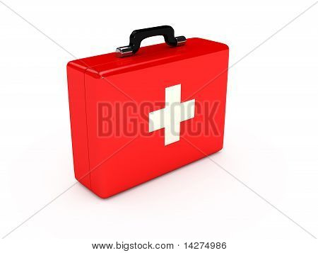 Red Medical Case Over White Background