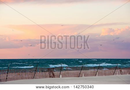 waves on Lake Michigan with seagulls in autumn sky and wooden fence on beach