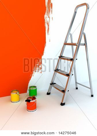 Open Staircase Over White Background