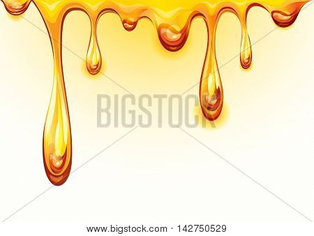 Drops honey. Orange juice background. Vector illustration.