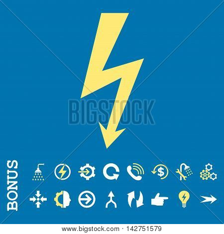 High Voltage vector bicolor icon. Image style is a flat pictogram symbol, yellow and white colors, blue background.