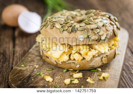 Breakfast Bagel With Fried Eggs (selective Focus)