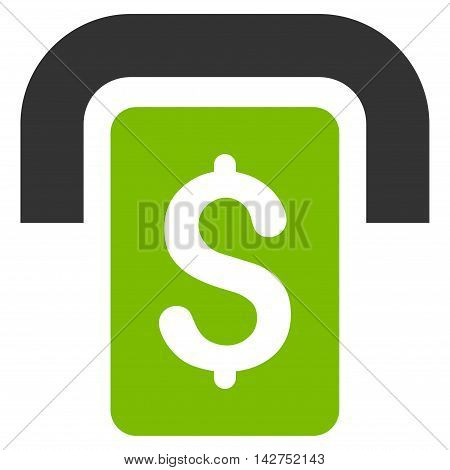 Cashpoint icon. Glyph style is bicolor flat iconic symbol with rounded angles, eco green and gray colors, white background.
