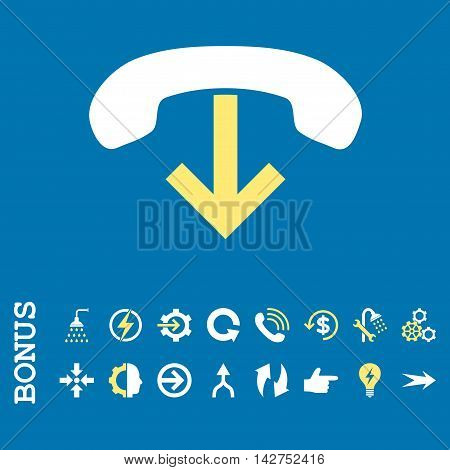 Phone Hang Up vector bicolor icon. Image style is a flat pictogram symbol, yellow and white colors, blue background.