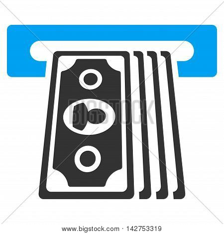 Cashpoint Terminal icon. Vector style is bicolor flat iconic symbol with rounded angles, blue and gray colors, white background.